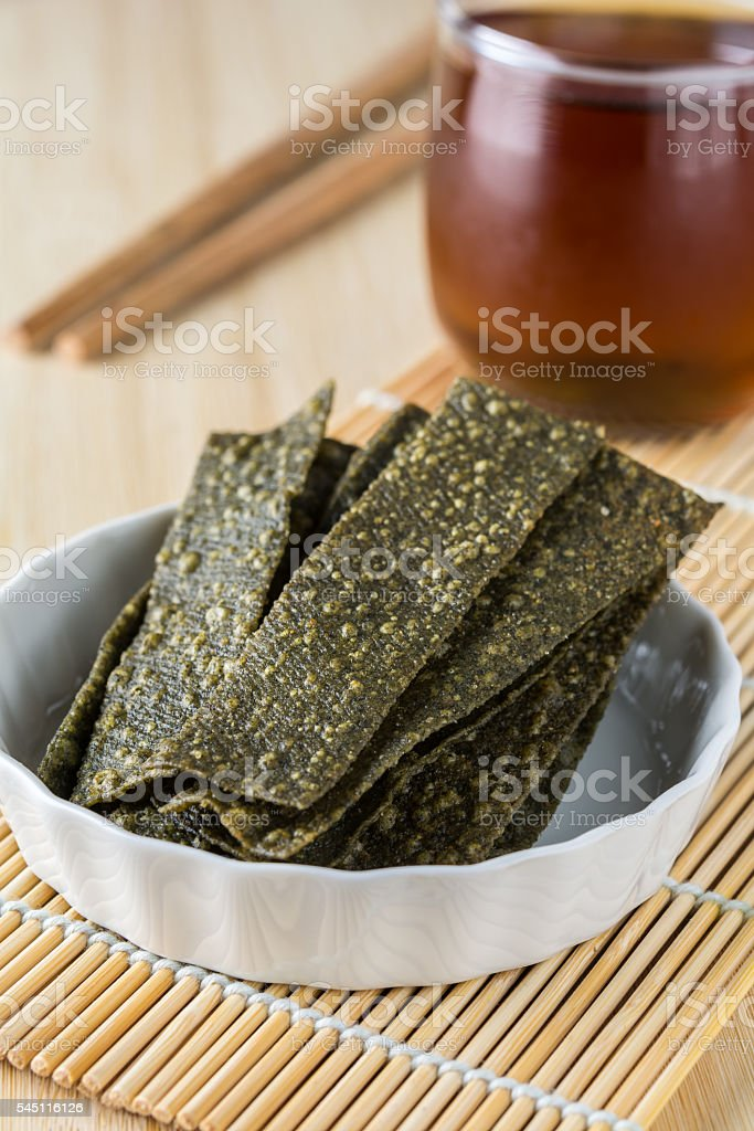 Healthy seaweed snack chips stock photo