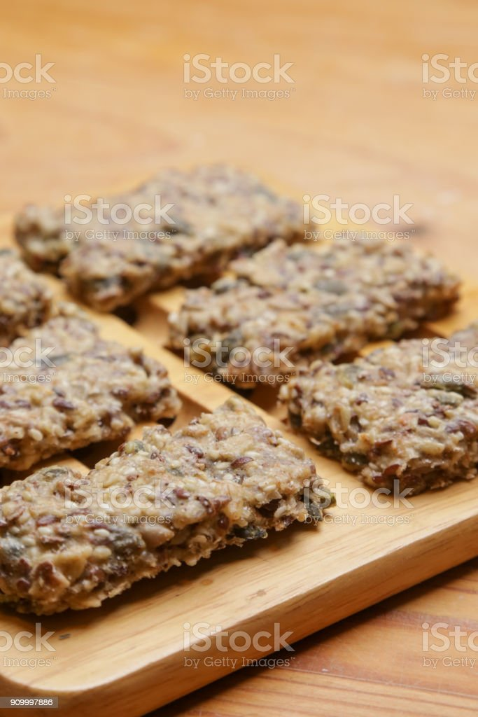 Healthy seed crackers stock photo