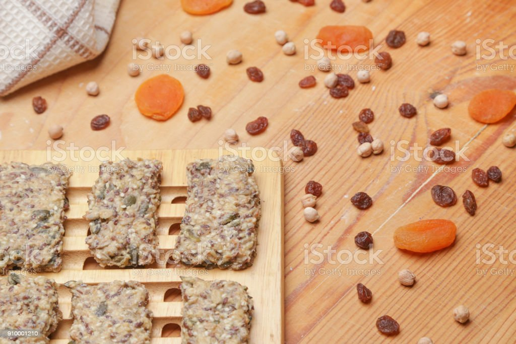 Healthy seed crackers with dry fruits stock photo