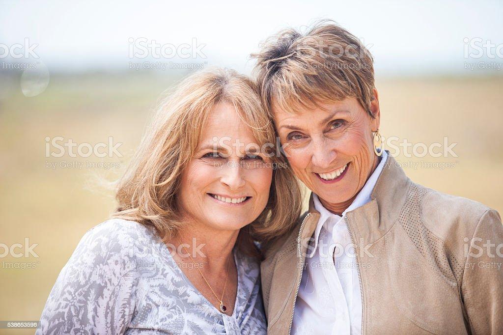 Healthy Senior Female Friends stock photo