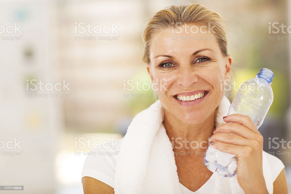healthy senior woman after exercise royalty-free stock photo