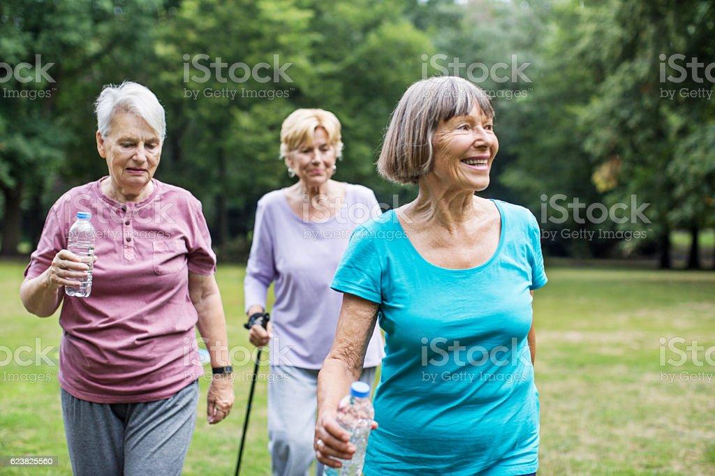 Healthy senior women walking in park stock photo