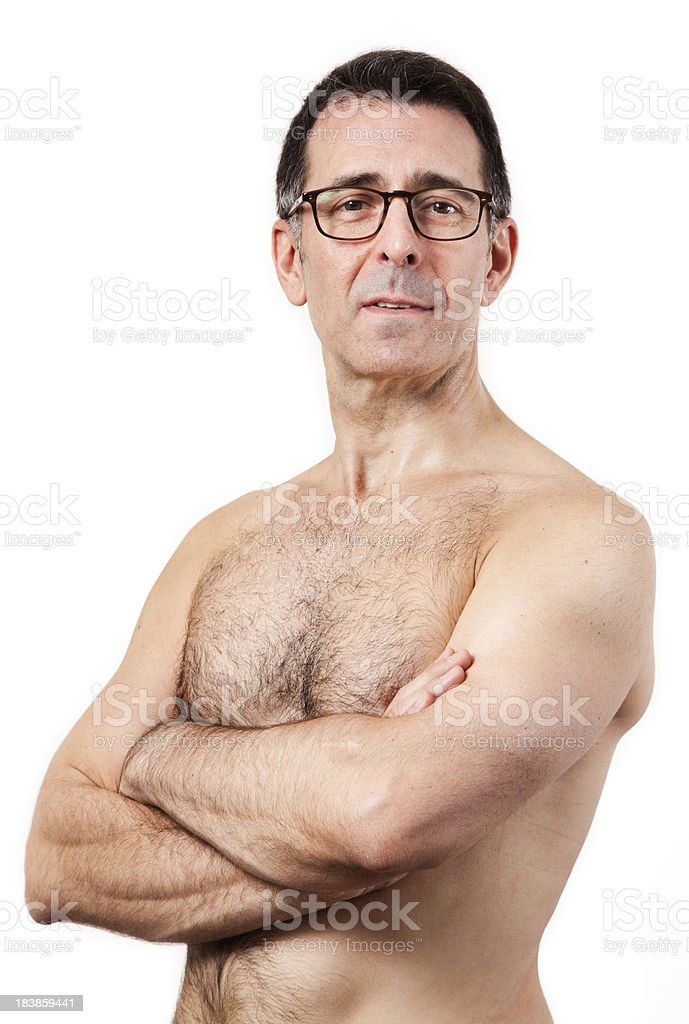 Healthy shirtless Mature man with arms crossed royalty-free stock photo