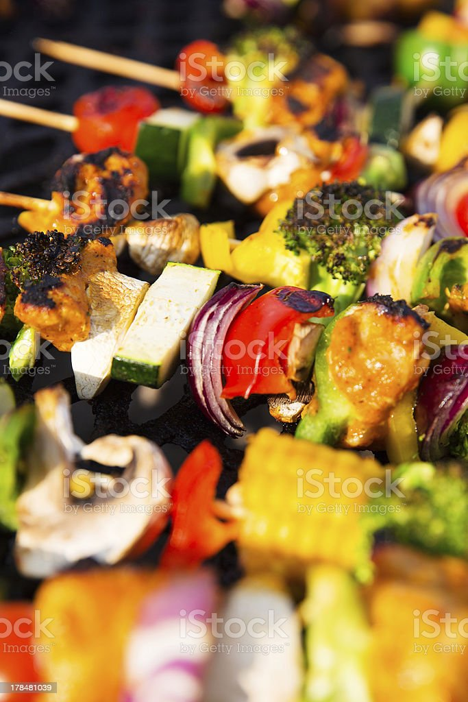 Healthy Skewers on the Barbecue royalty-free stock photo