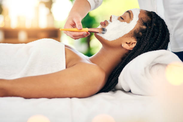 healthy skin is a facial away - chemical peel stock pictures, royalty-free photos & images