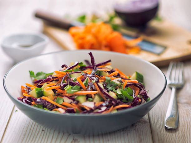 healthy slaw - coleslaw stock pictures, royalty-free photos & images