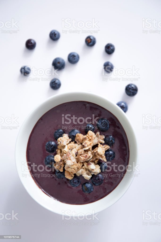 Healthy smoothie bowl with fresh blueberries stock photo