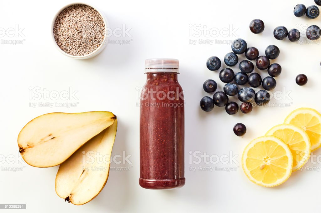 Healthy smoothie drink with fresh fruit and chia stock photo