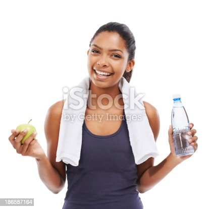 istock Healthy snack and water to wash it down 186587164