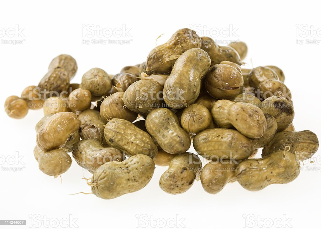 A healthy snack of boiled peanuts stock photo