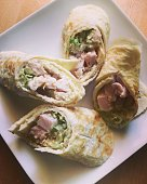 Healthy snack: turkey and vegetables rolls