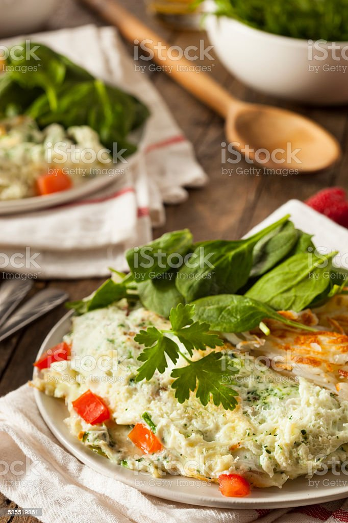 Healthy Spinach Egg White Omelette stock photo