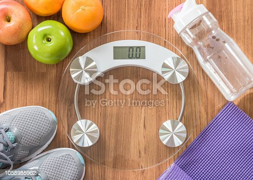 istock Healthy sporty lifestyle clean food dietary with gym aerobic body exercise workout training class equipment 1058985962