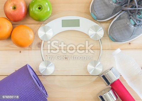 istock Healthy sporty lifestyle clean food dietary with gym aerobic body exercise workout training class equipment 976555118