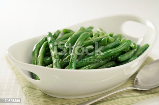 Freshly steamed green beans ready to be served.