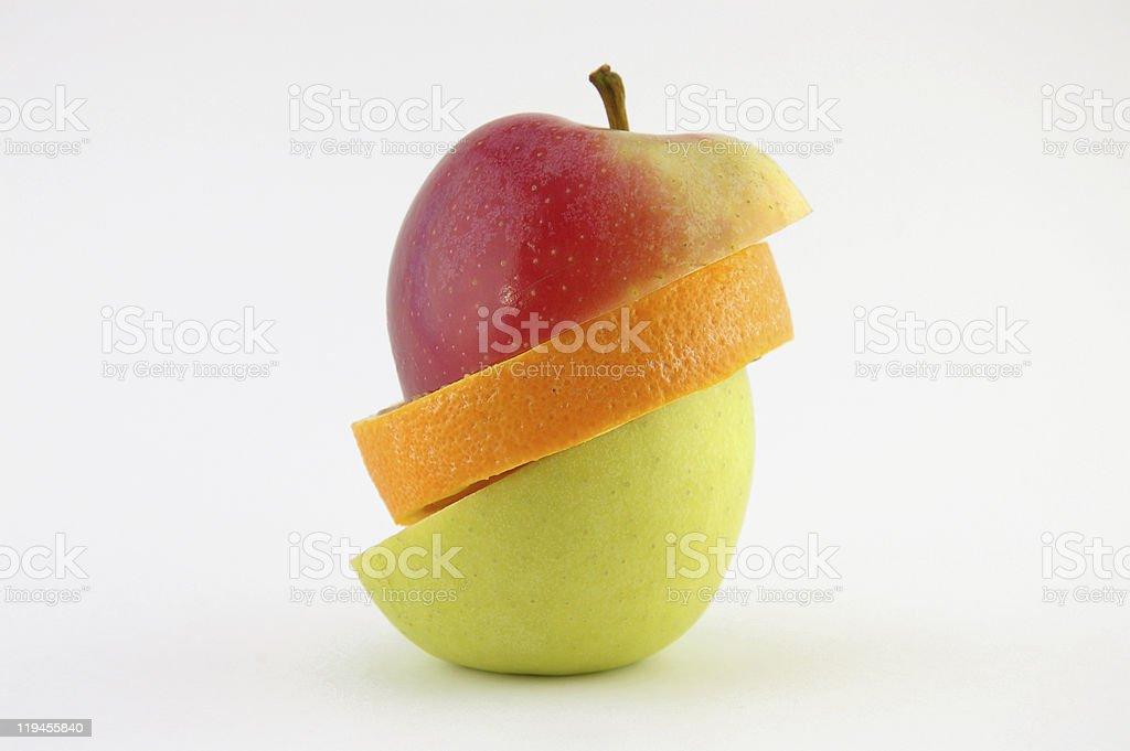 Healthy steps:apple-orange-apple royalty-free stock photo
