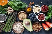 Vegetarian healthy food background.