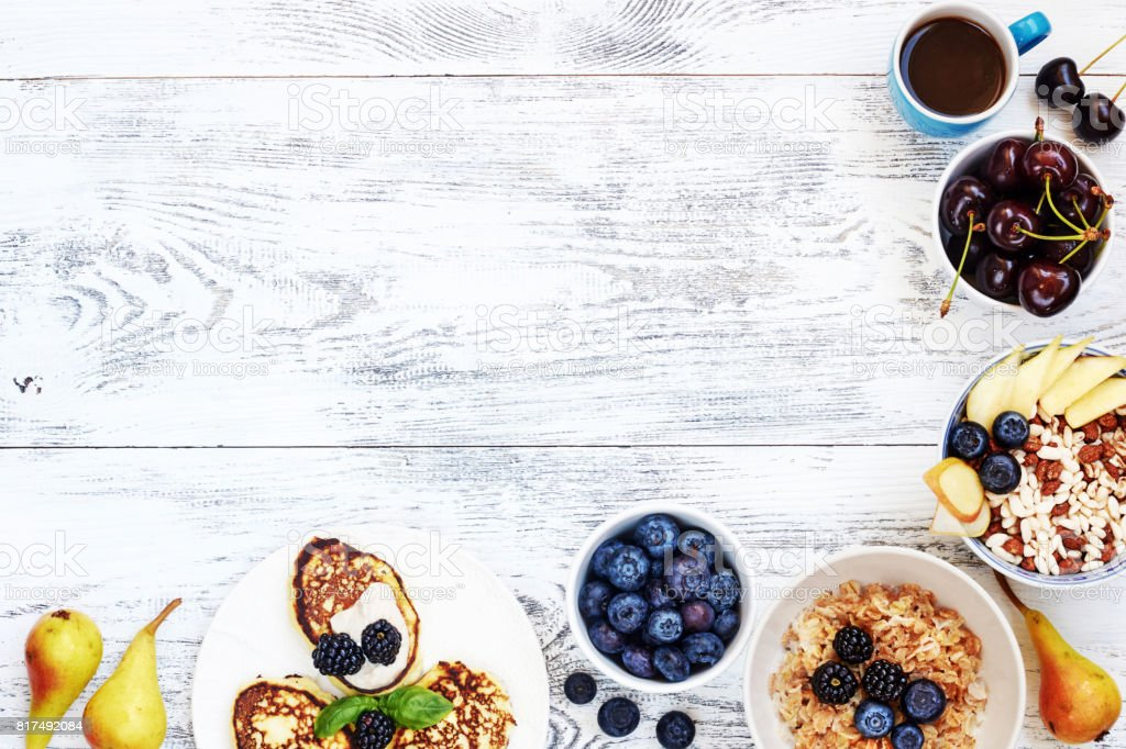 Gesunden Sommer Frühstück Essen Rahmen Stock-Fotografie und mehr ...