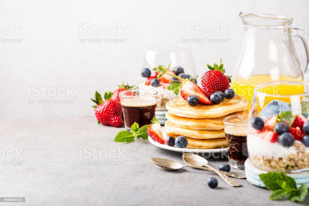 Healthy summer breakfast stock photo