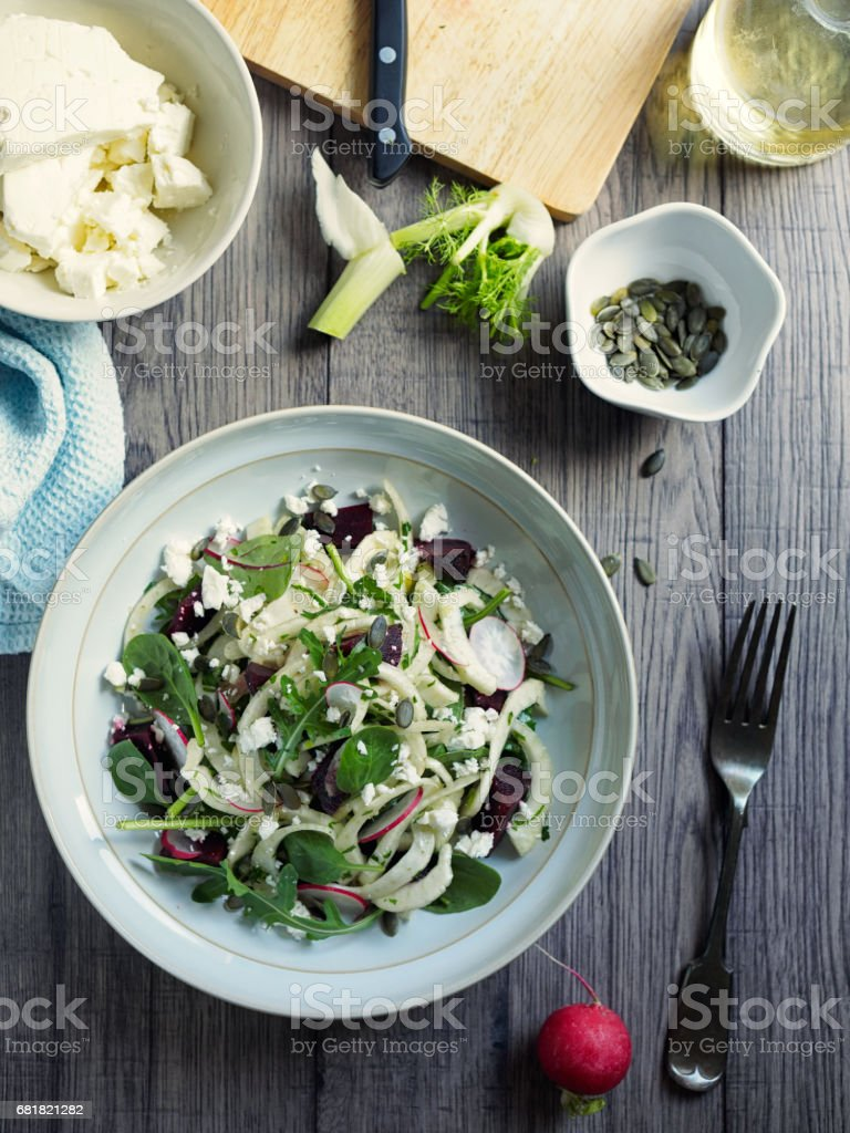 Healthy summer fennel beetroot salad stock photo