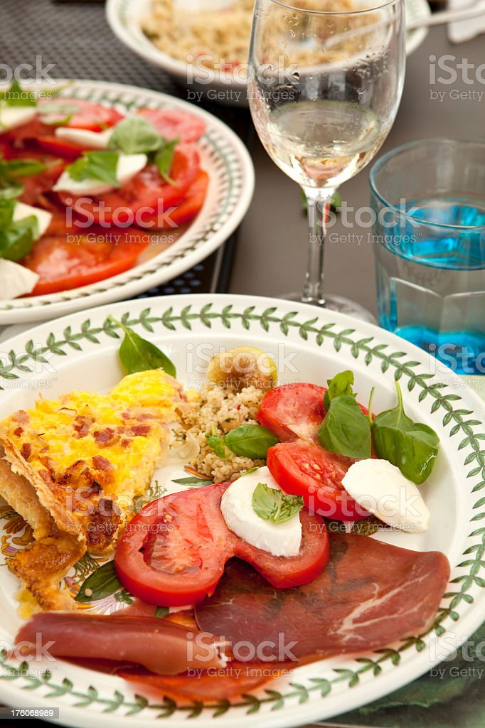 healthy summer mediterranean style meal with fresh tomato royalty-free stock photo