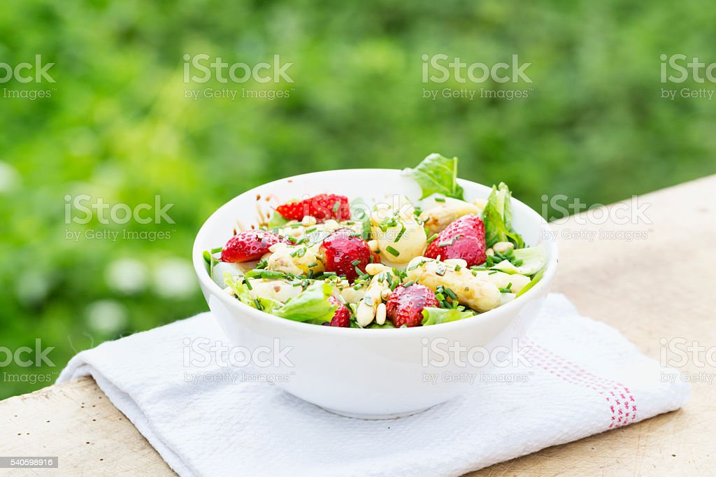 healthy summer salad asparagus strawberries stock photo