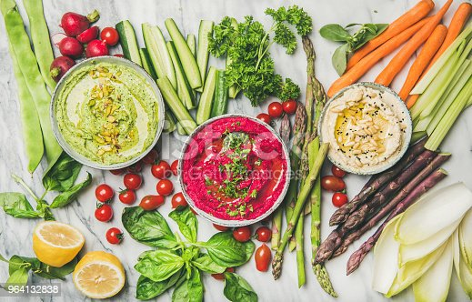 istock Healthy summer vegan snack plate with hummus and vegetables 964132838