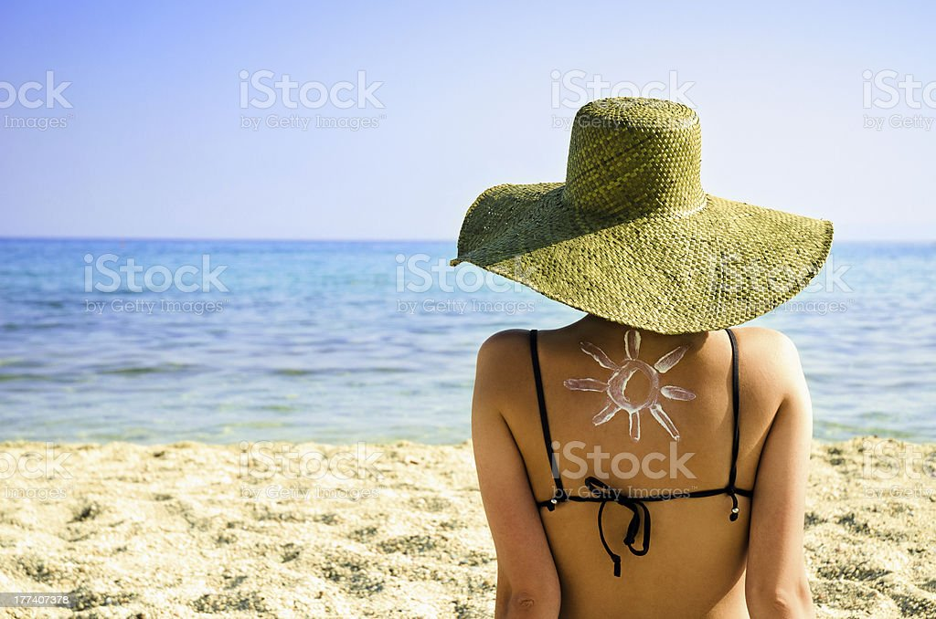Healthy sunbathing - UV protection concept stock photo