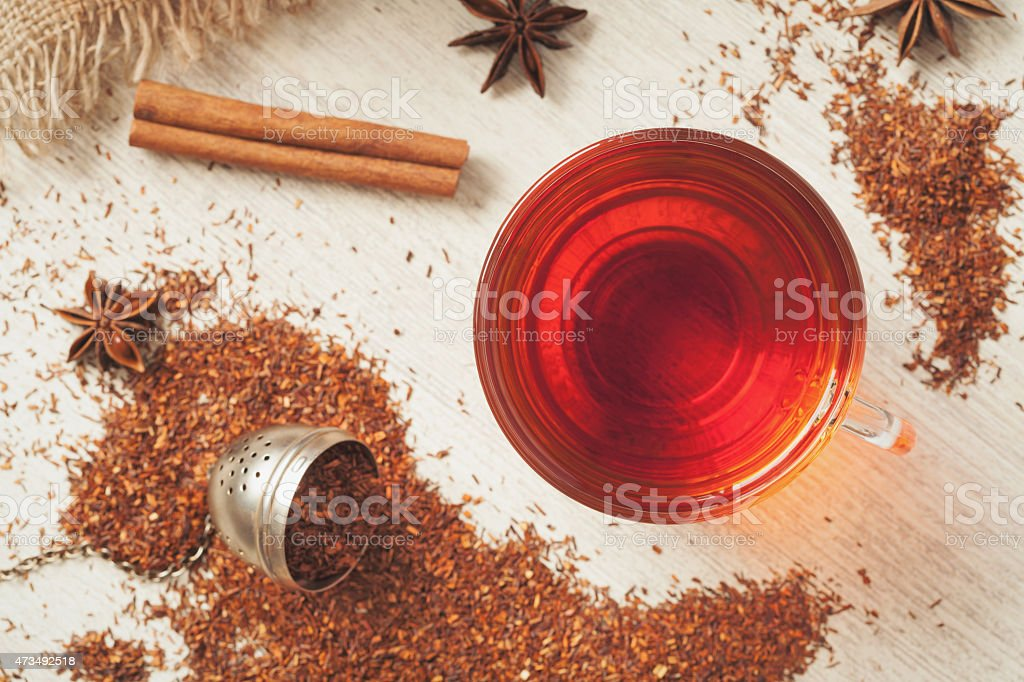 Healthy superfood beverage rooibos african tea with spices stock photo