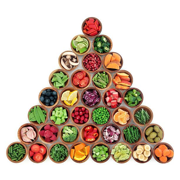 gesunde superfood-optionen - pyramide sammlung stock-fotos und bilder