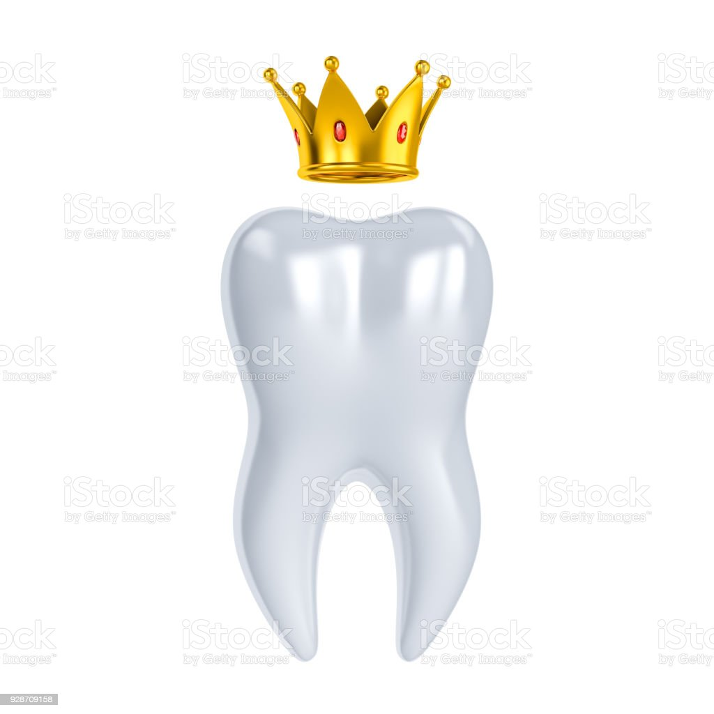 Healthy teeth 3d illustration with white enamel and root. Dentistry, dental health care, dentist office, oral hygiene themes design. Golden Crown. stock photo