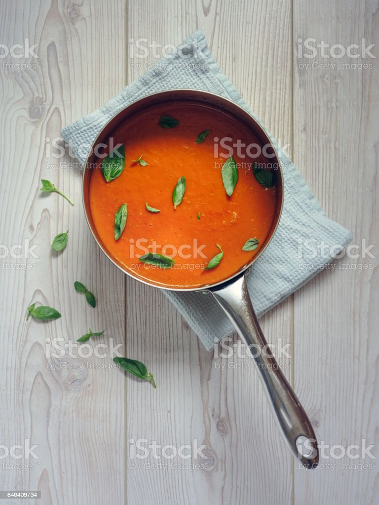 Healthy tomato and roasted pepper soup stock photo