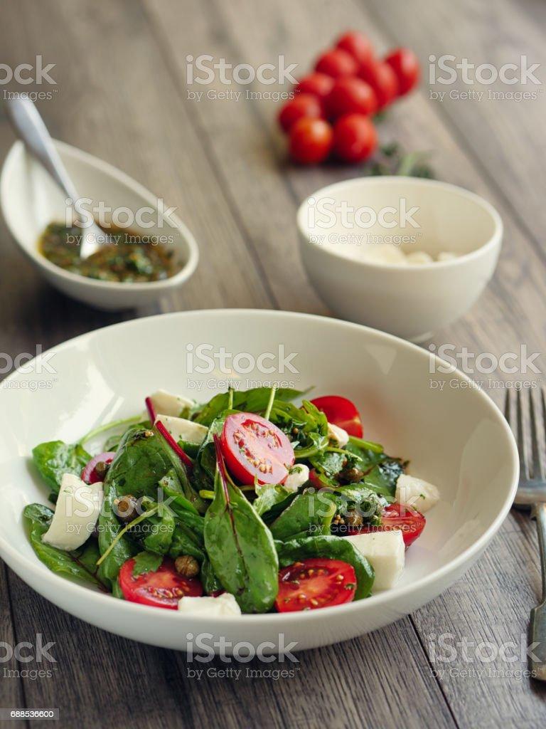 Healthy tomato mozzarella salad stock photo