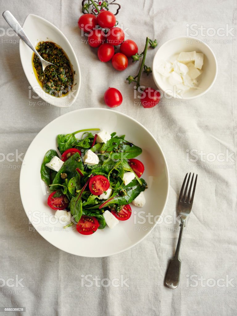 Healthy tomato mozzarella salad stock photo