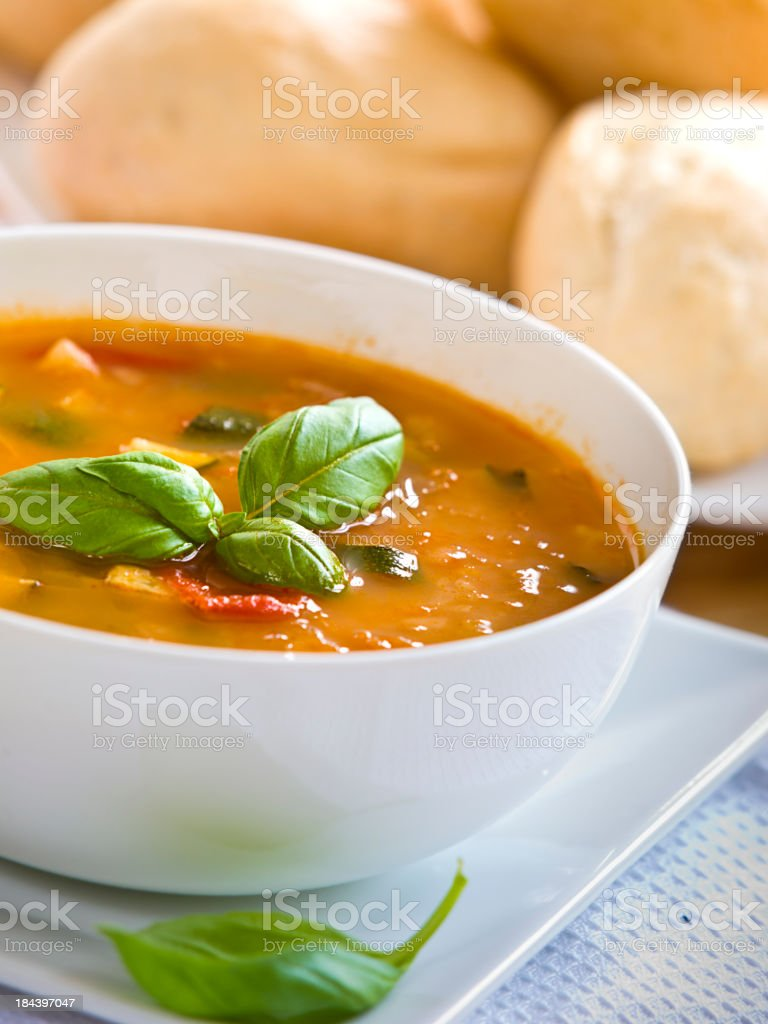healthy tomato&courgettes soup stock photo