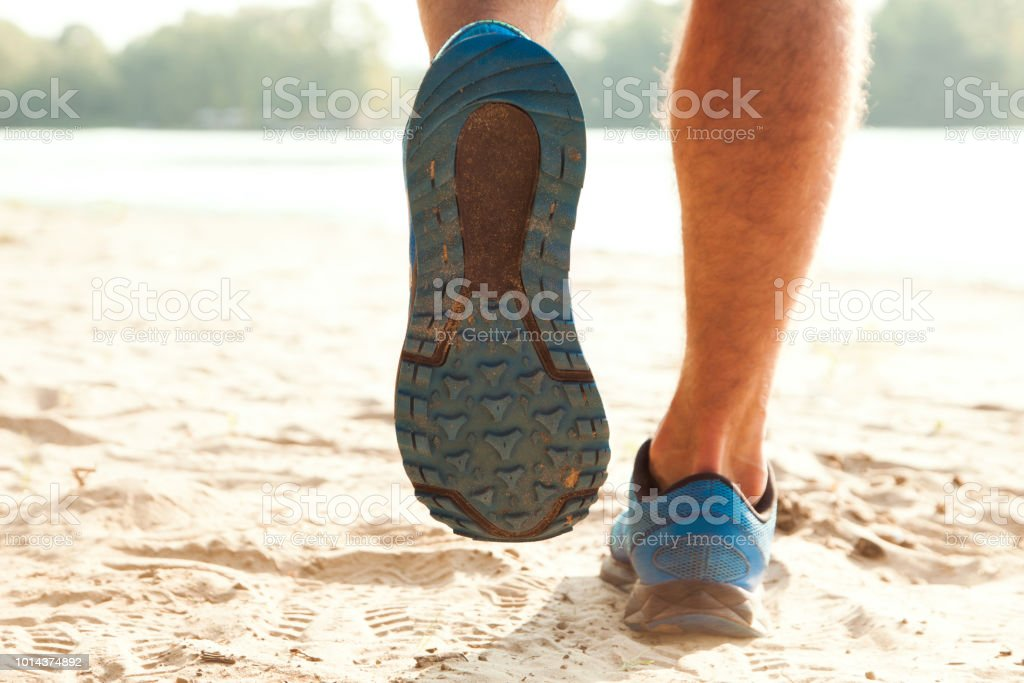 Healthy trail running stock photo