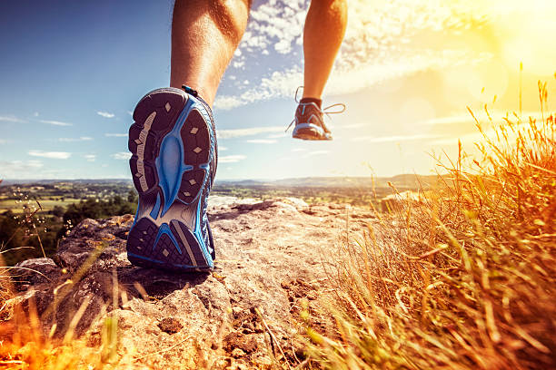 healthy trail running - jogging stock pictures, royalty-free photos & images