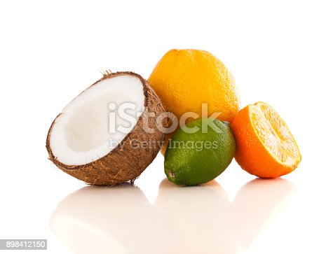 istock Healthy tropical fresh fruits on white background 898412150