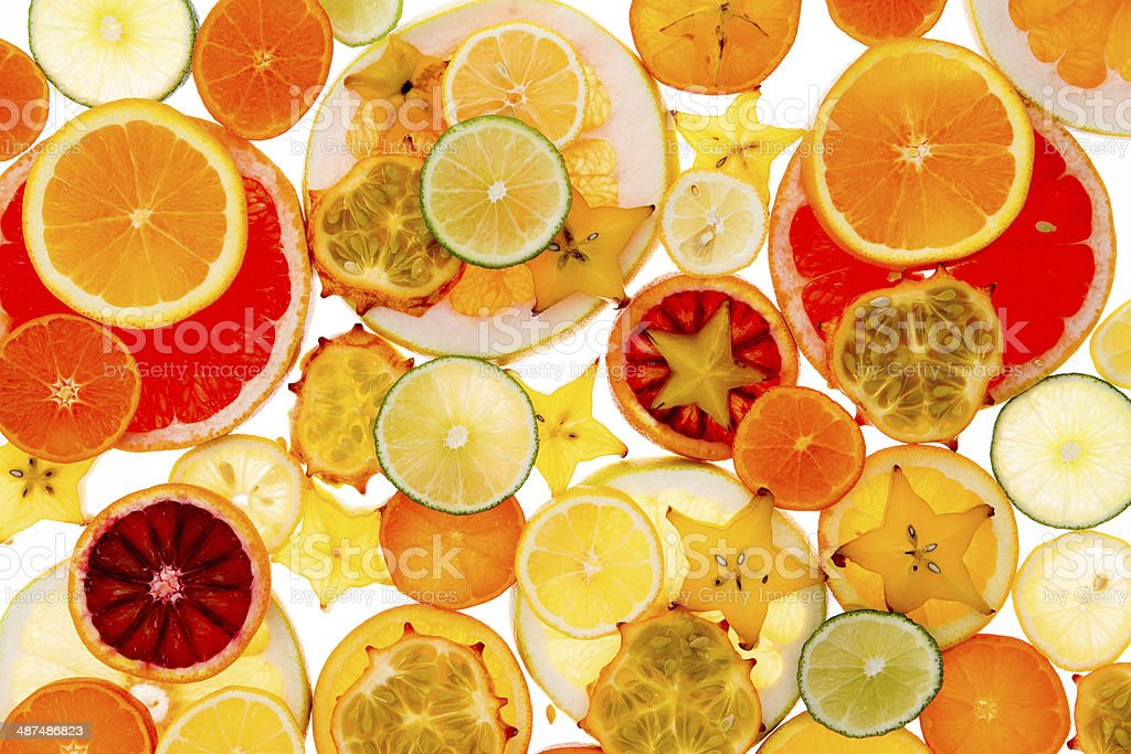 Healthy tropical fruit and citrus background stock photo
