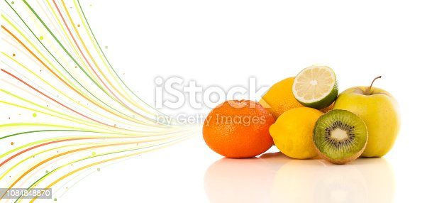 istock Healthy tropical fruits with colorful abstract lines 1084848870
