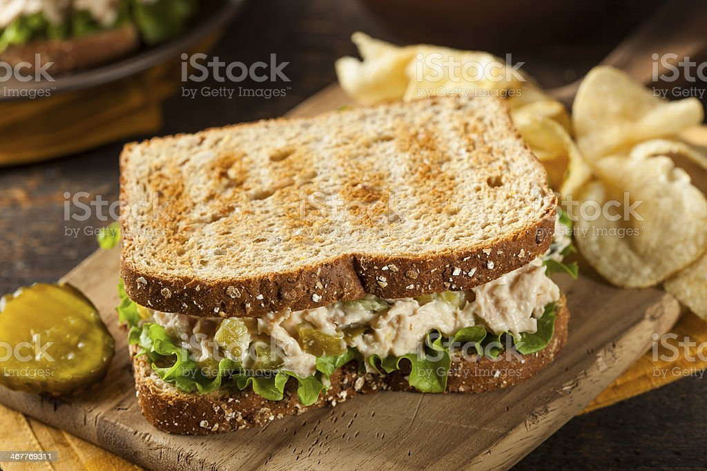 Healthy Tuna Sandwich with Lettuce stock photo