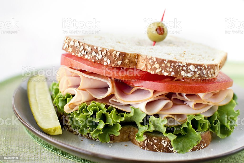 Healthy Turkey Sandwich on Wheat Bread royalty-free stock photo