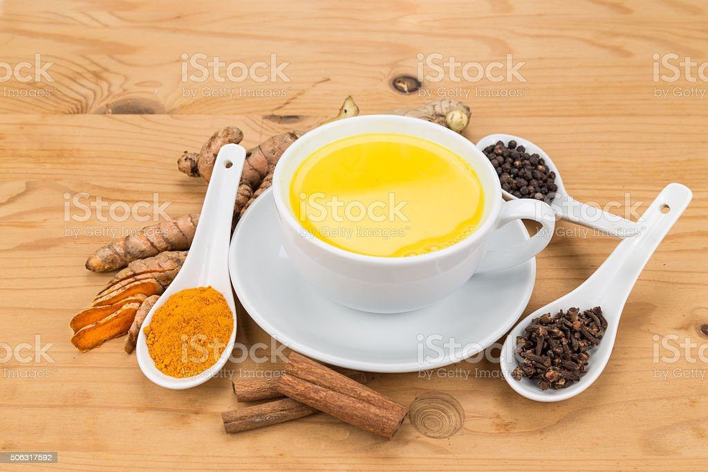 Healthy Turmeric Milk Tea With Ginger Cinnamon Cloves Black