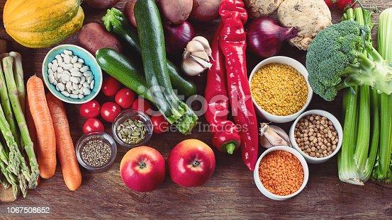 istock Healthy vegan and vegetarian food. 1067508652