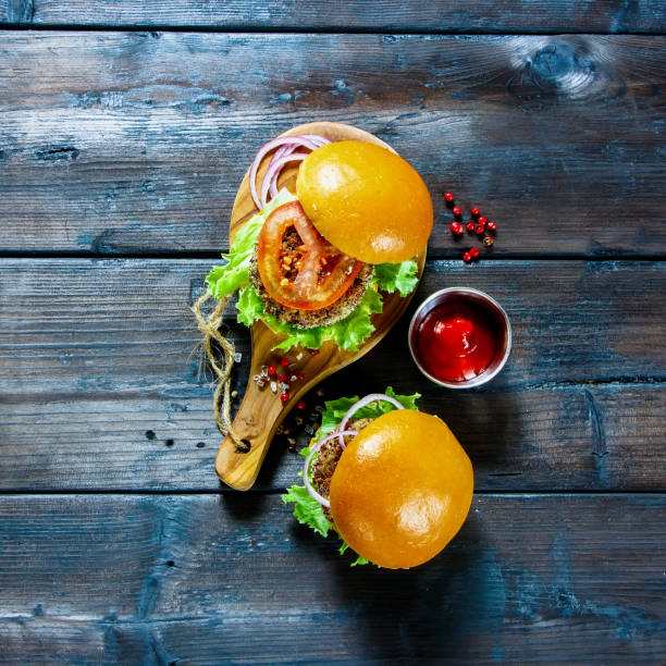 Healthy vegan burger stock photo