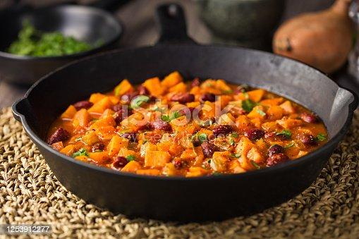 Home made freshness sweet potato,carrot,celery,with kidney beans vegan chili con carne ,sprinkle fine chopped fresh coriander
