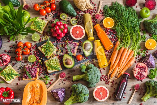 istock Healthy vegan food. Sandwiches and fresh vegetables on wooden background. Detox diet. Different colorful fresh juices. top view 862477938