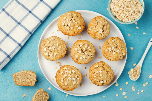 Healthy vegan oat muffins, apple and banana cakes