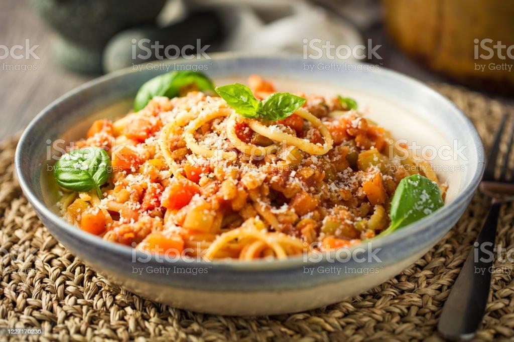 Gesunde Vegan Spaghetti Bolognese Stockfoto und mehr