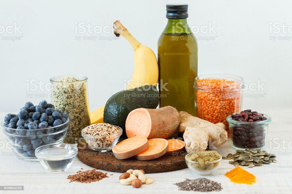 Healthy vegan super foods stock photo